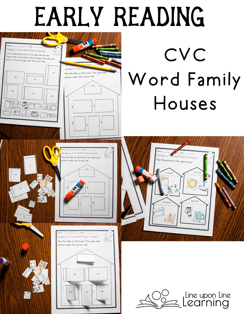 """We sort CVC words into the correct """"house"""" in this cut-and-paste, early reading cvc activities set."""