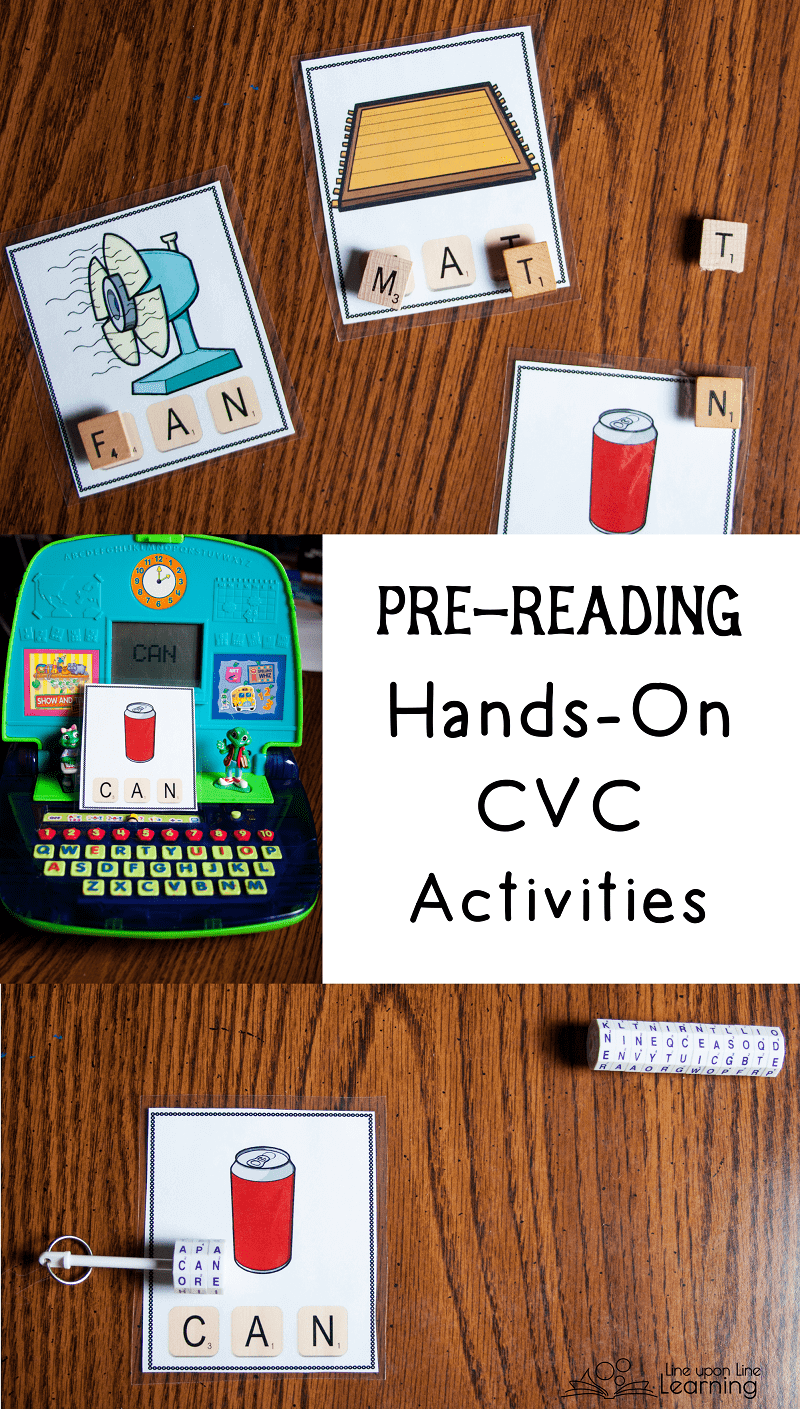 Some CVC activities are great for even pre-readers. Playing with letters and building words does not require reading knowledge! Make it play at first.