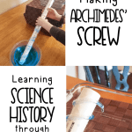 We read about Archimedes and the problems he had. Then we tried his same solution. I love approaching science with a literature-rich curriculum!