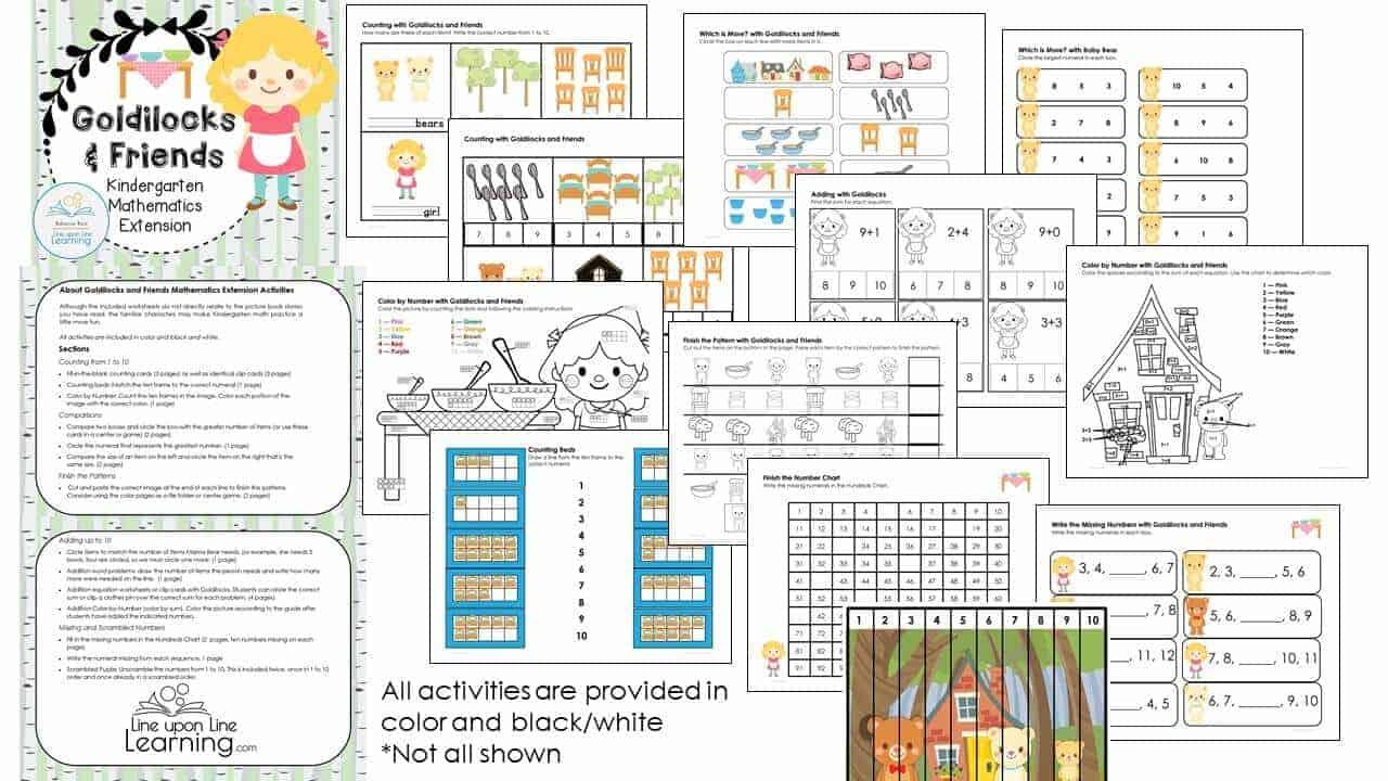 Goldilocks Kindergarten Math DEMO