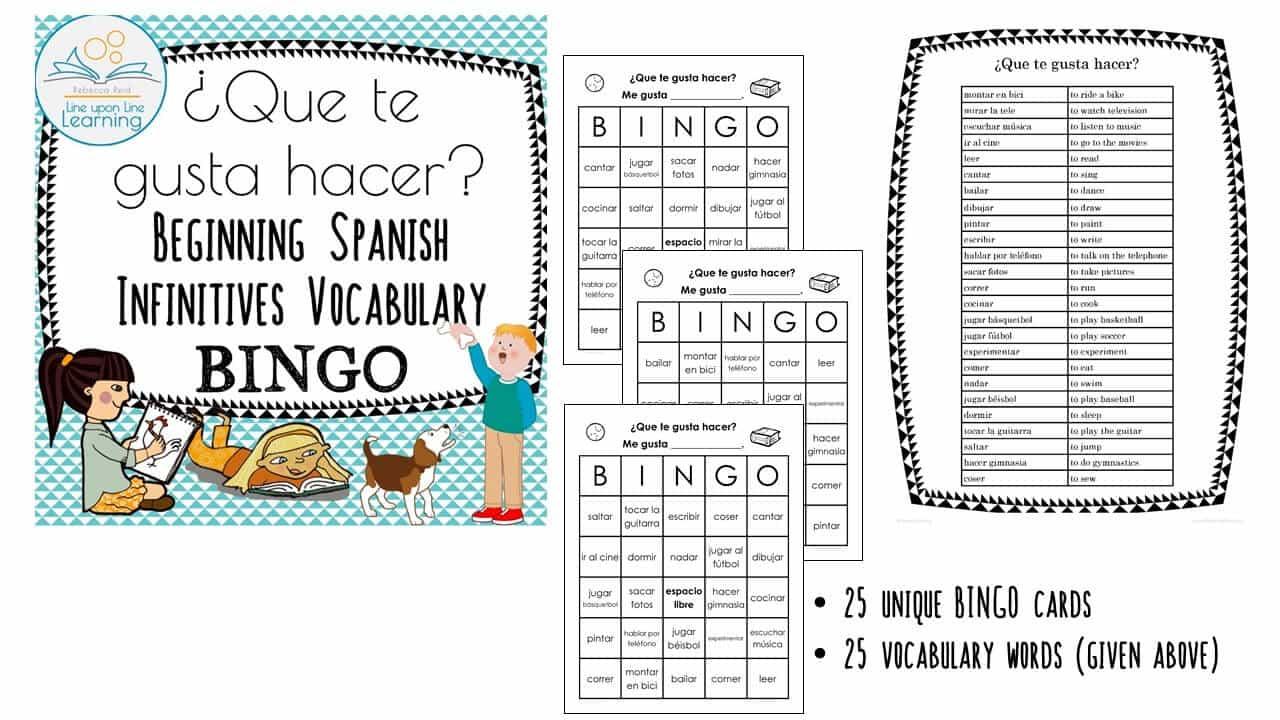 Get-to-know-you Spanish infinitives BINGO