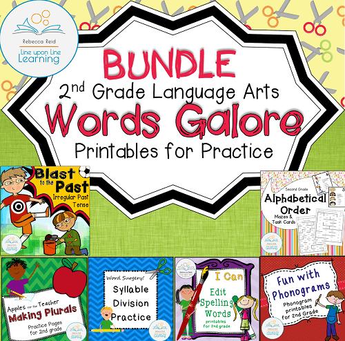 language arts printables 2nd grade BUNDLE COVER