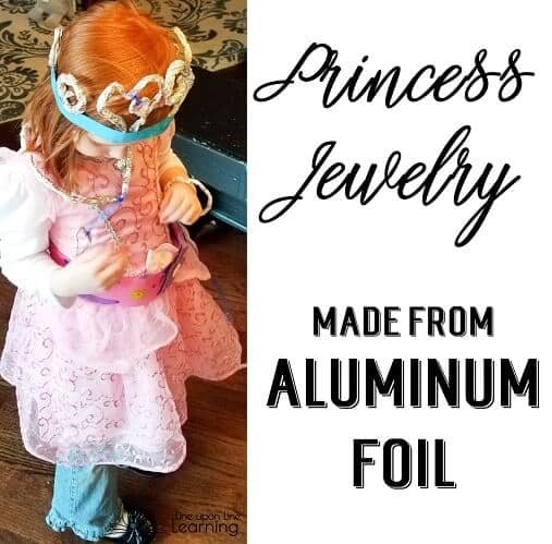 We used aluminum foil to make sparkly princess jewelry.