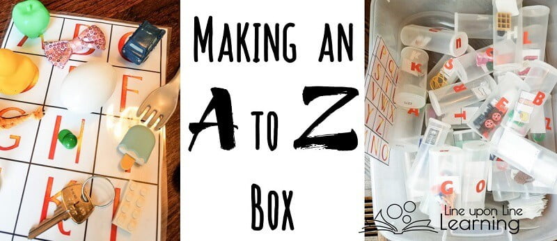 To make an Alphabet Box, gather small toys or other household items from A to Z to letter sounds and names.