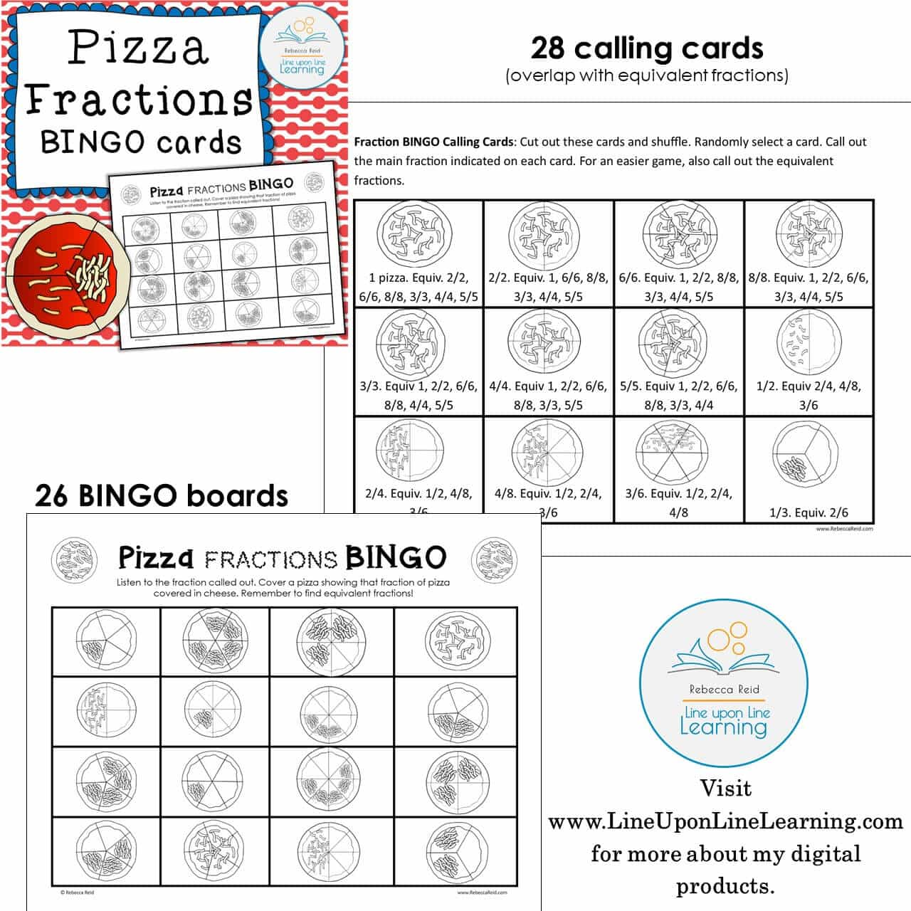 Fraction Bingo Boards Pizza Line Upon Line Learning