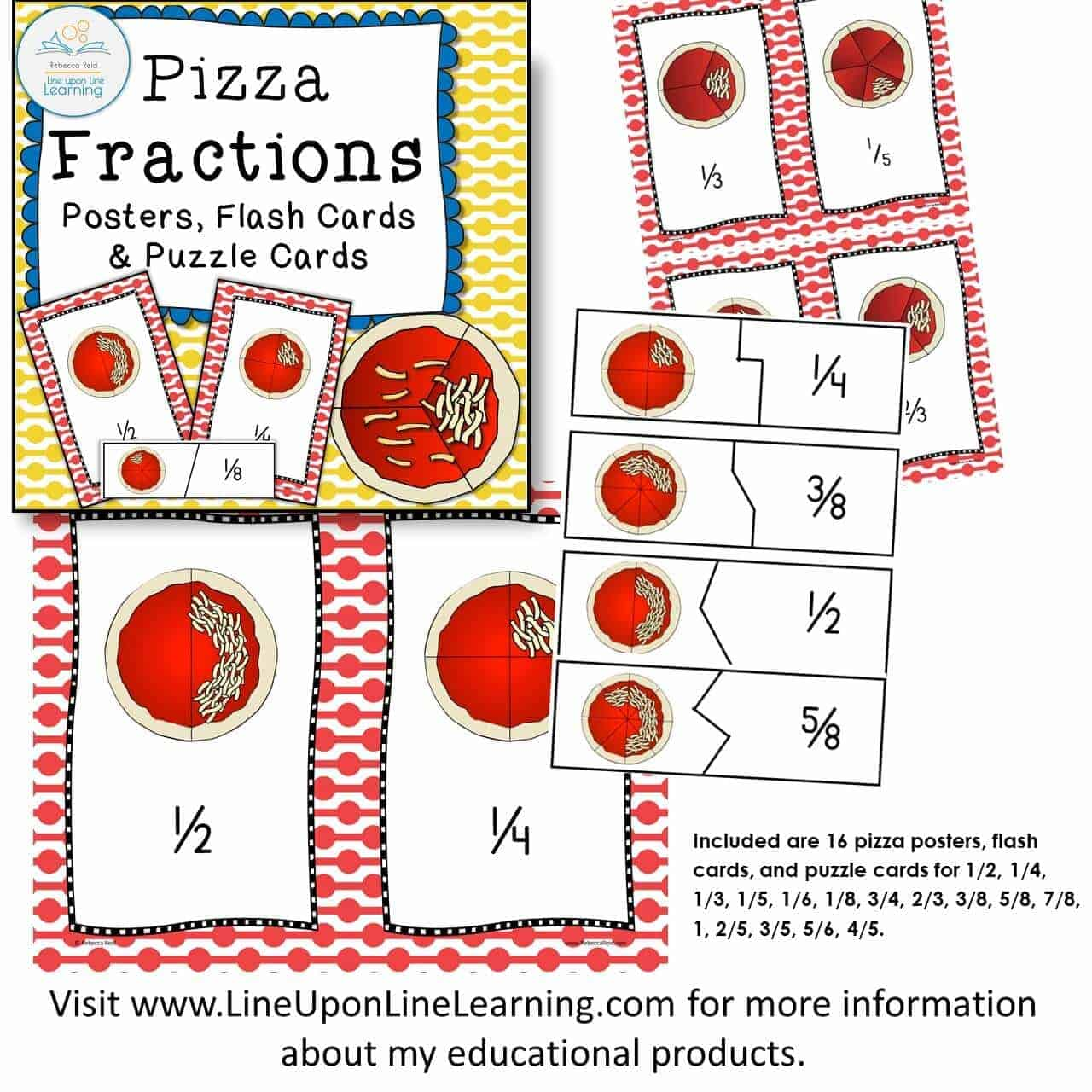 Fractions Posters Games And Worksheets Pizza Theme Bundle Line Upon Line Learning