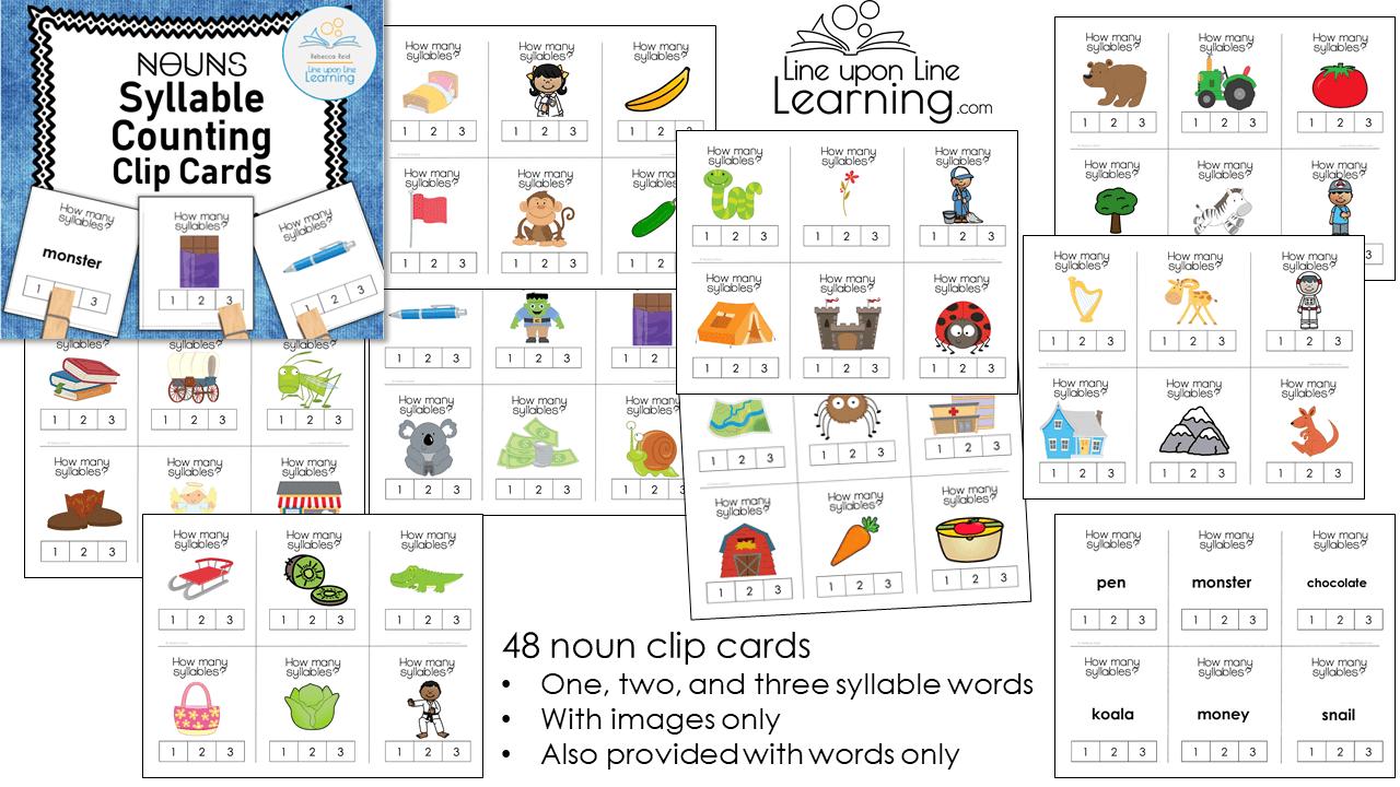 syllable counting clip cards nouns DEMO