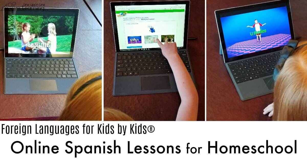 This homeschool-designed online Spanish curriculum lets kids interact with reading and listening quizes, with lots of other extras to make it even more interactive.