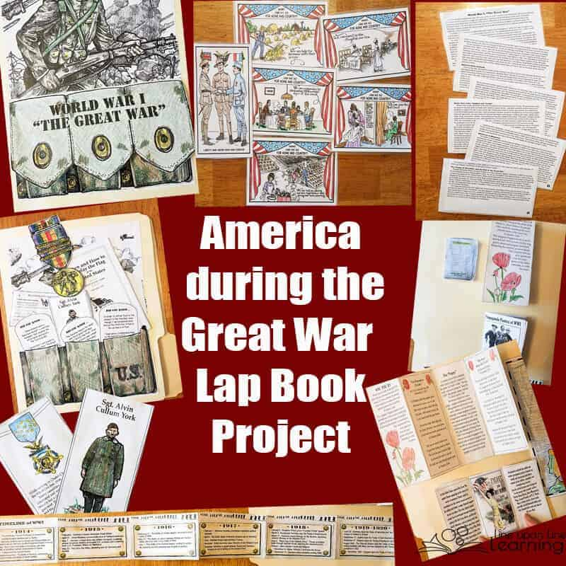 We learned about life on the home front during the first World War and what Americans felt about going to war. Add a history of WWI and many more informational items to color, and the Great War lap book was just right for my upper elementary school student.