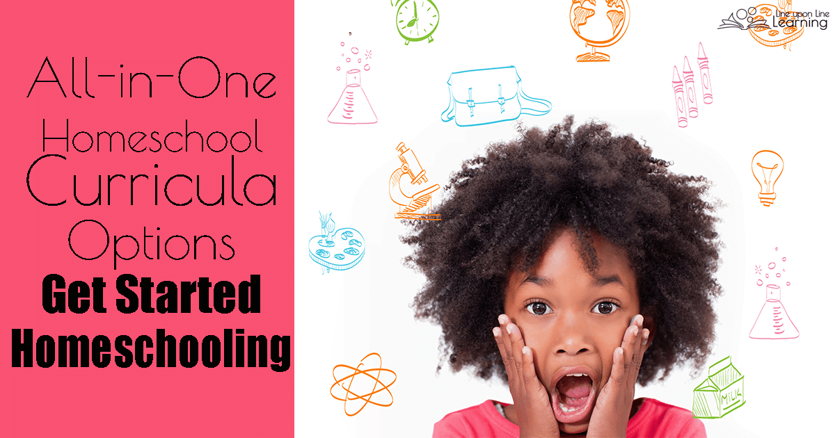 """There are a lot of all-in-one homeschool curricula options. All-in-one homeschool curricula sets are from companies that have worked out what """"should"""" be learned each year. They sell all the resources together along with a schedule of how to teach it."""