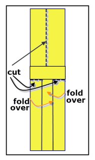 Diagram for cutting and folding a paper helicopter.