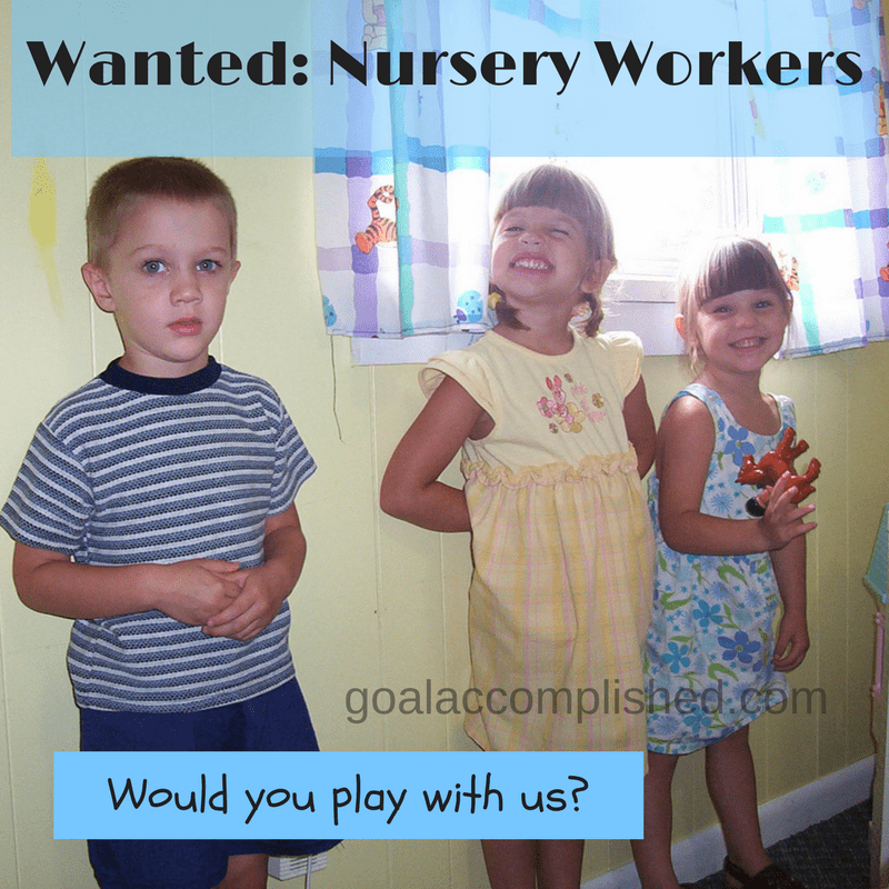 little kids smiling wishing you would help in the nursery