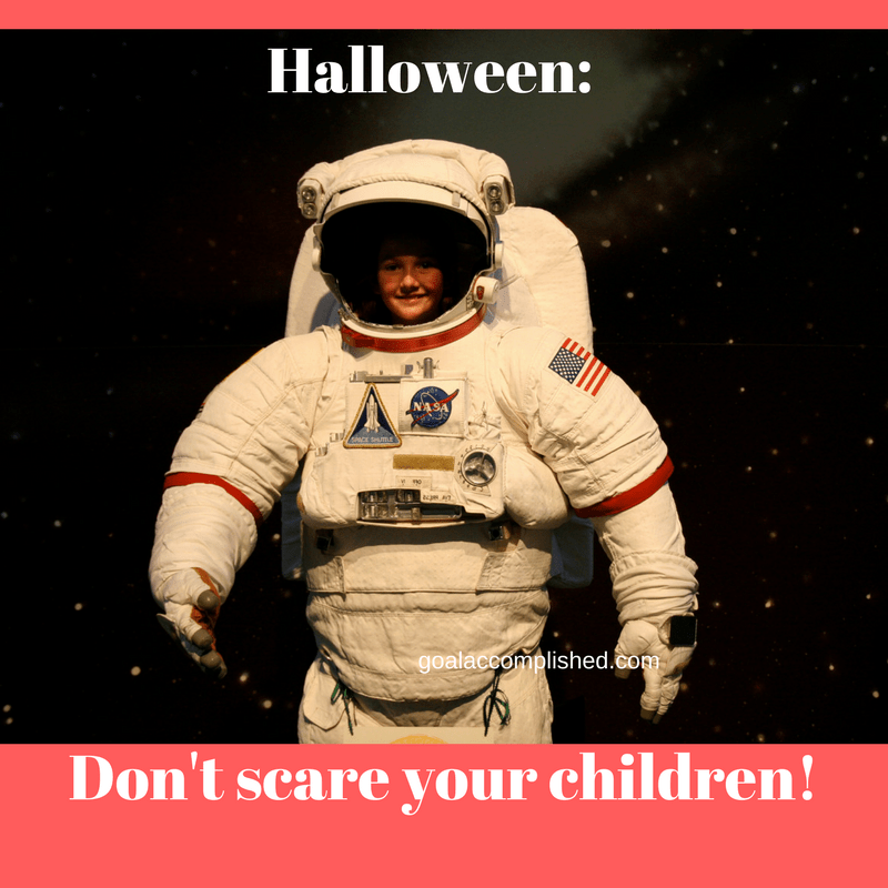Parenting tips: Child in an astronaut costume. Text says: Halloween: don't scare your children!