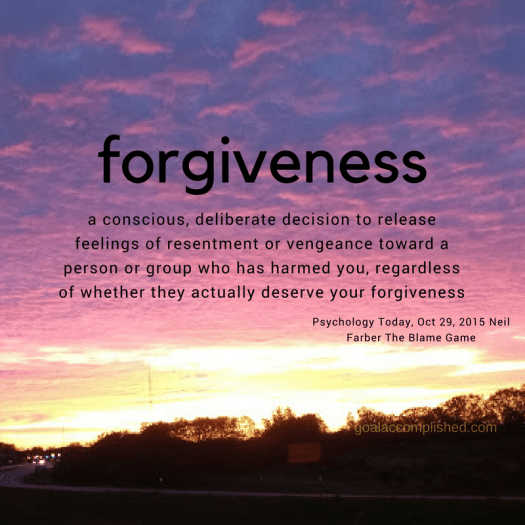 Beautiful sunrise picture with the definition of forgiveness printed over it.