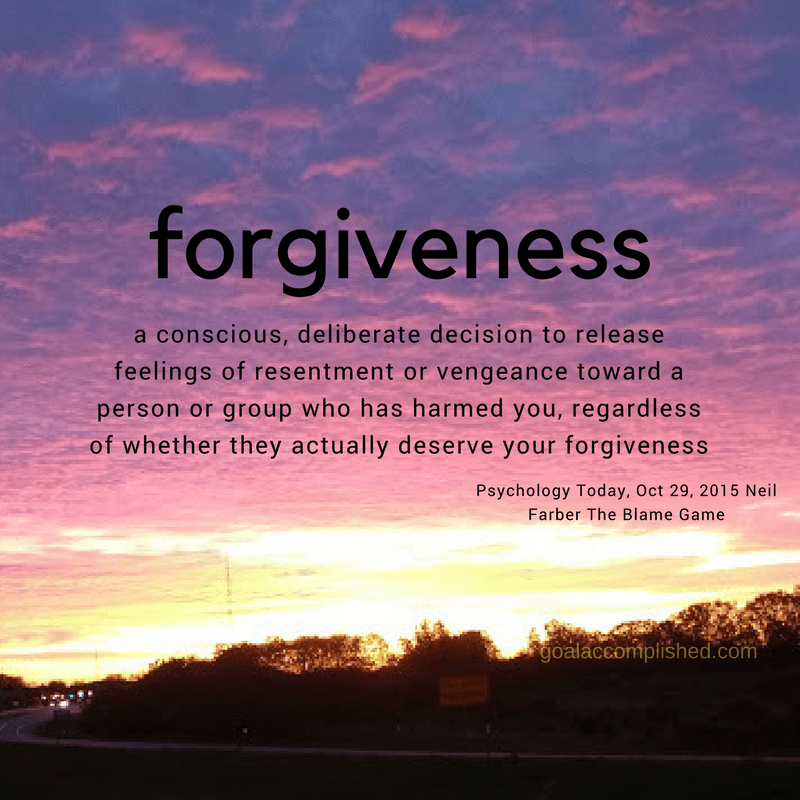Beautiful sunrise picture with the definition of forgiveness printed over it