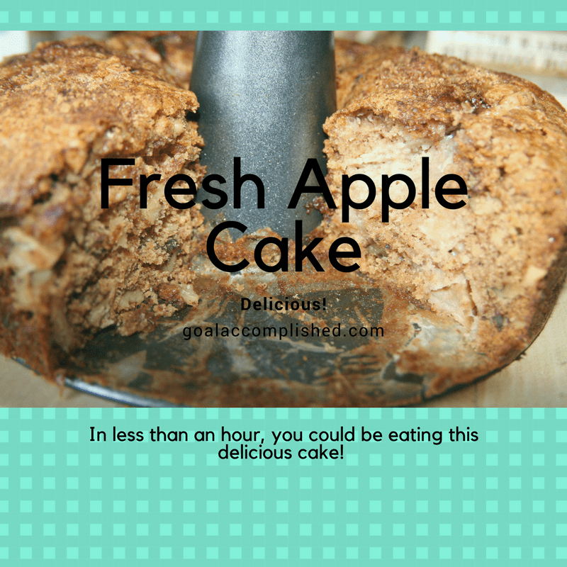 In less than an hour you could be eating this cake. Picture of Fresh Apple Cake, one slice removed