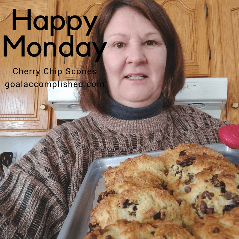 EE holding tray of freshly baked scones to help get her week started on a positive note
