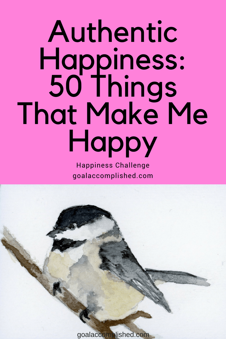 Watercolor of Chickadee: Authentic Happiness_50 Things That Make Me Happy