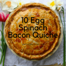 Spring tulips and daffodils are next to this flaky pastry: A tasty spinach bacon quiche with eggs nested within. While this quiche has many steps, this delicious quiche is worth making.