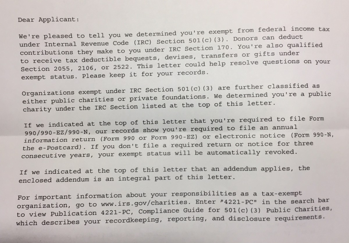 Tax deductible donations without IRS determination letter ...