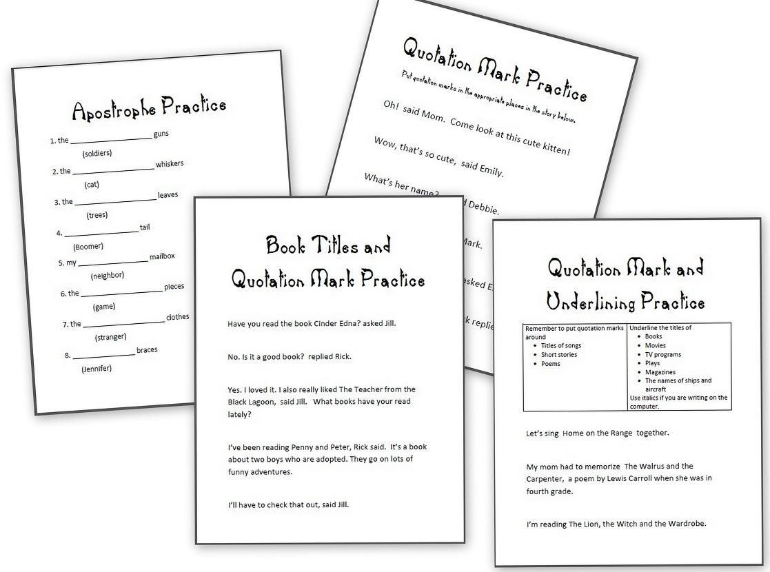 Grammar Practice Sheets Apostrophes Quotation Marks And Underlining And Others