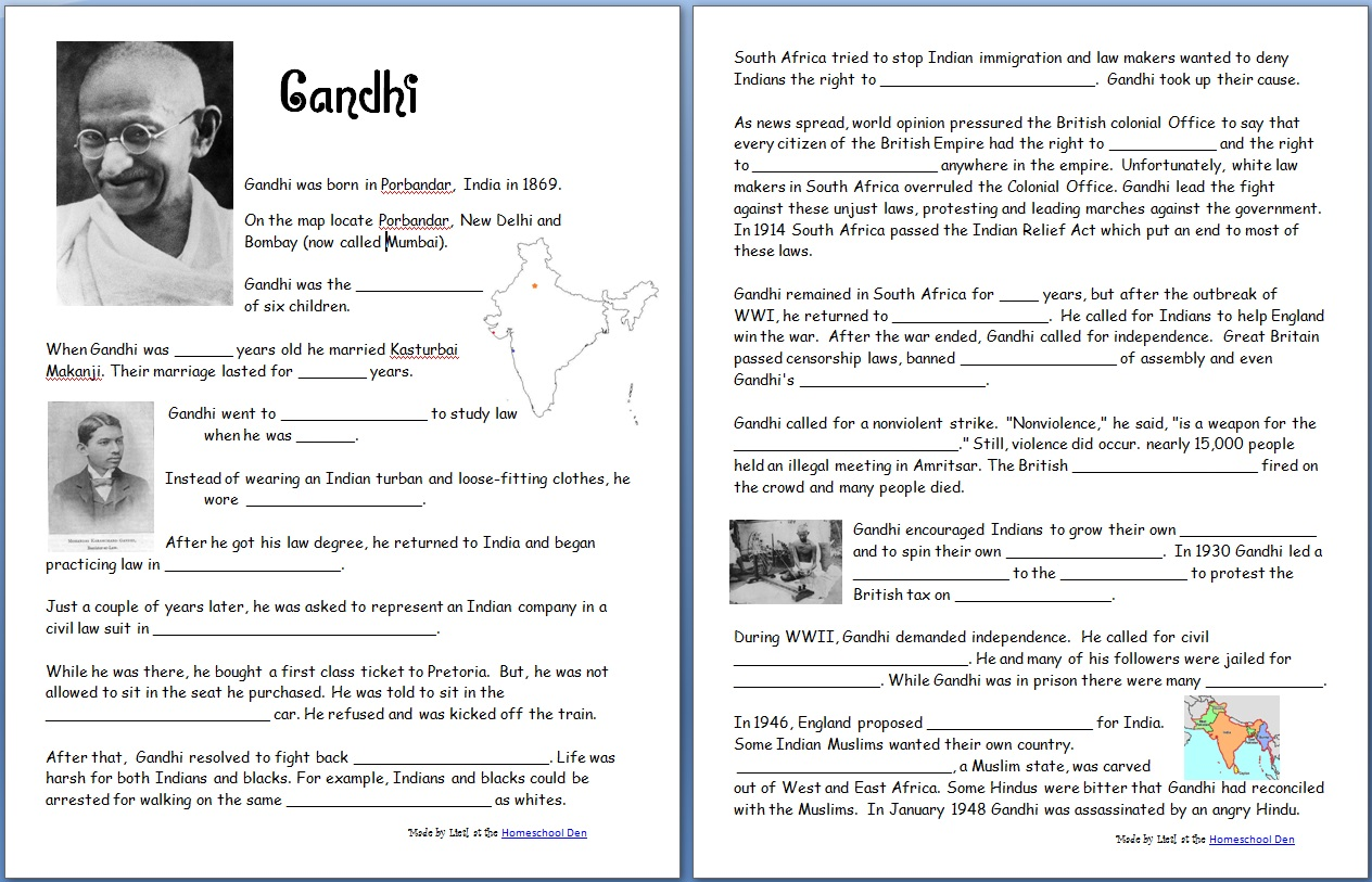 Gandhi Free Worksheets Notebook Pages
