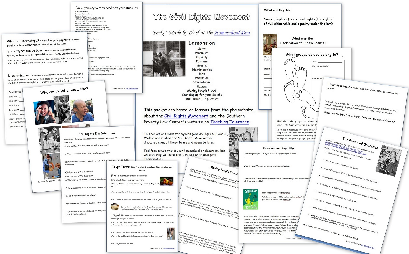 Civil Rights Movement Lessons Free Packet