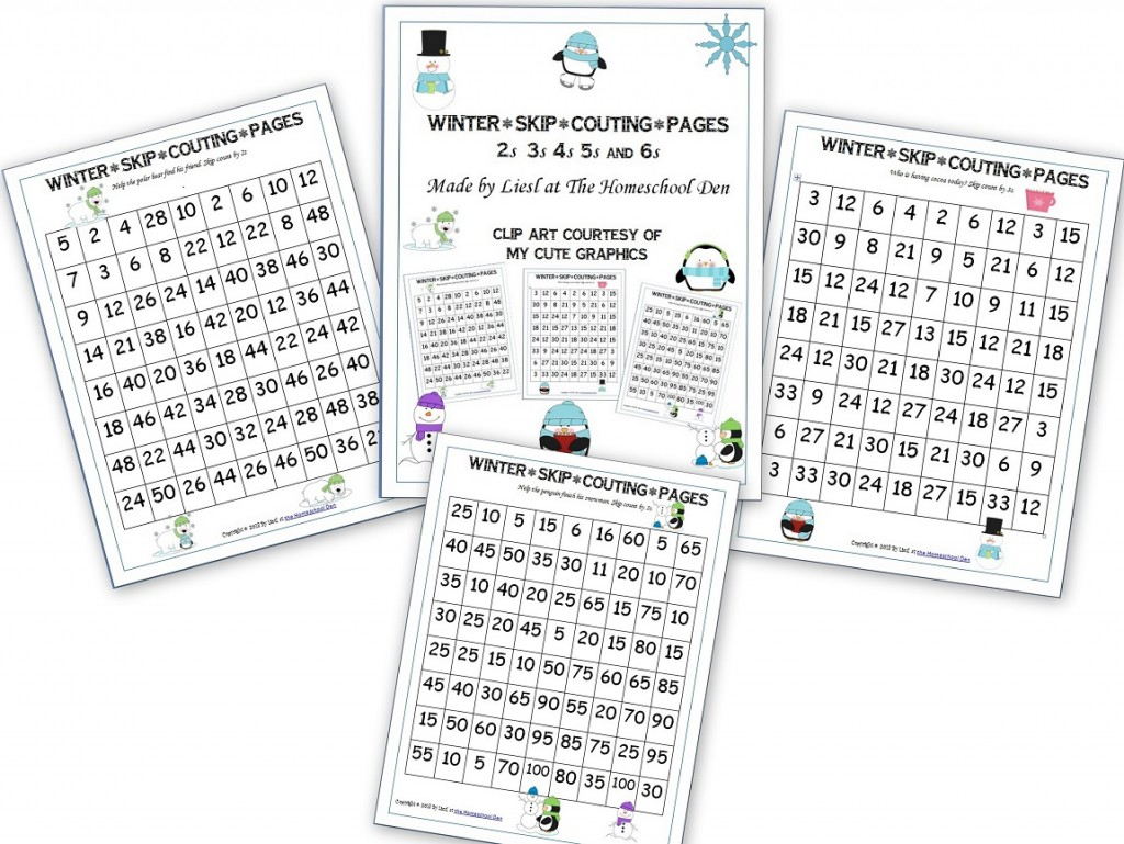 Free Winter Skip Counting Pages
