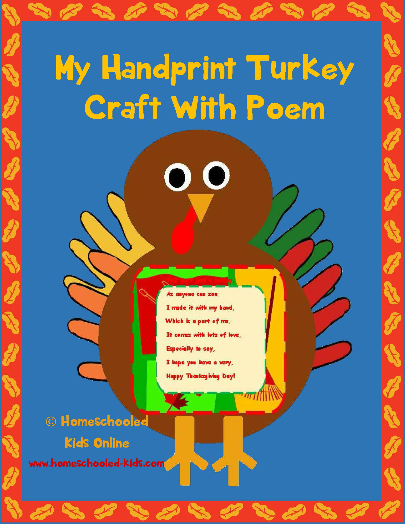 Magazine For Homeschooled Kids Hand Print Turkey Craft With Poem