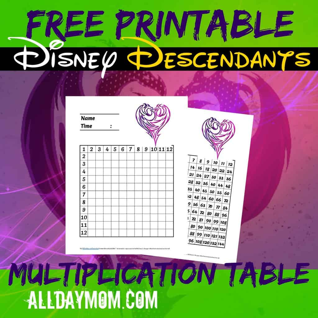 Free Printable Disney Descendants Multiplication Table And Guide