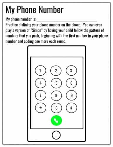 Phone Number Worksheet Kindergarten