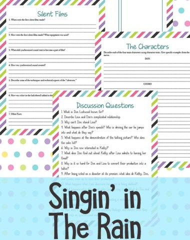 Whether your kids love musicals or you want to expand their horizons, this Singing in the Rain movie study is great spring study. This movie study includes four pages, perfect as a precursor to a descriptive paper. #moviestudy #movies #hsgiveaways #homeschoolers