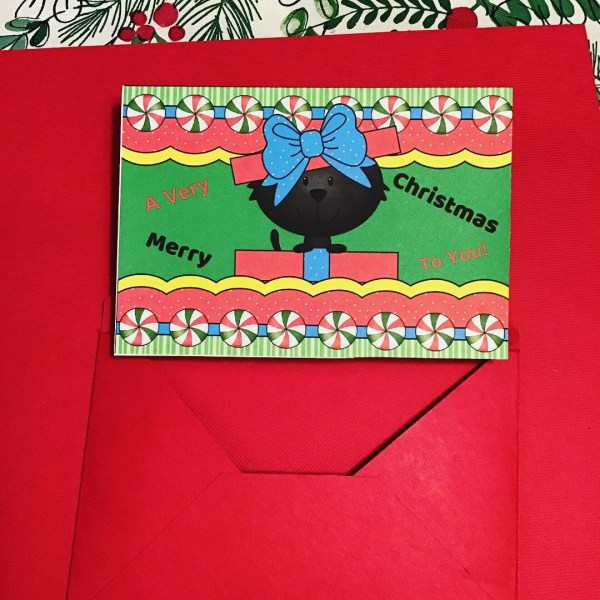 Christmas Kitty Card with Envelope
