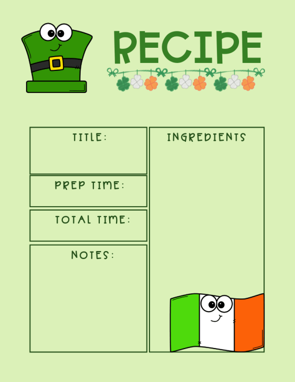 Free St. Patrick's Day Recipe Card