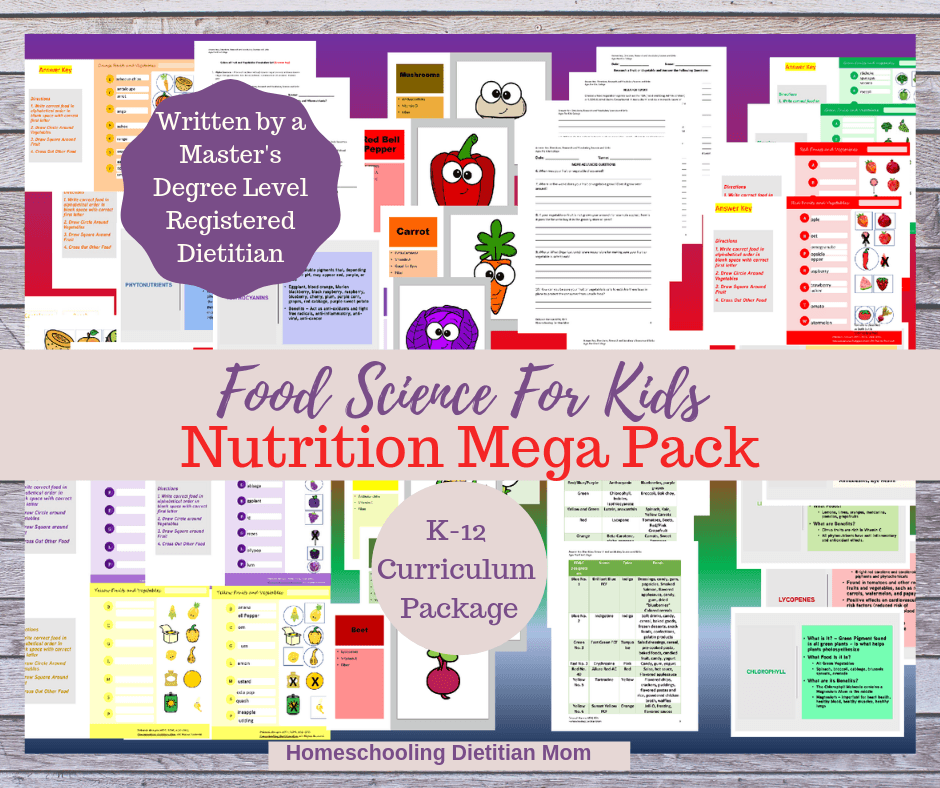 Nutrition and Food Science Activity Pack - Homeschooling Dietitian Mom