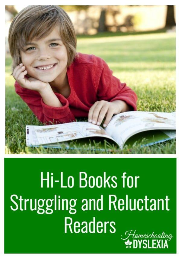 For many struggling or reluctant readers, reading is too much of a chore to be enjoyable. Hi-Lo books can help. #homeschoolingwithdyslexia #homeschooling #greatbooks #strugglingreaders #reluctantreaders #booklists  #dyslexia
