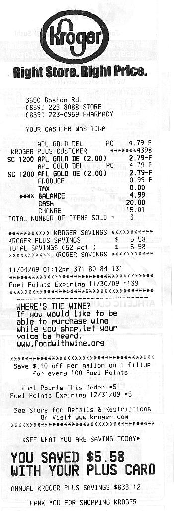 kroger receipt