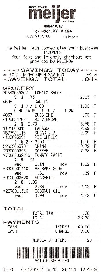 meijer receipt