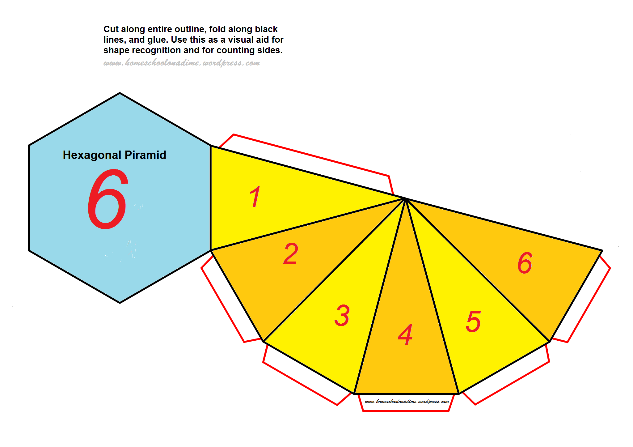 Counting The Sides Of Complex Shapes Free Hexagonal Pyramid Home School On A Dime