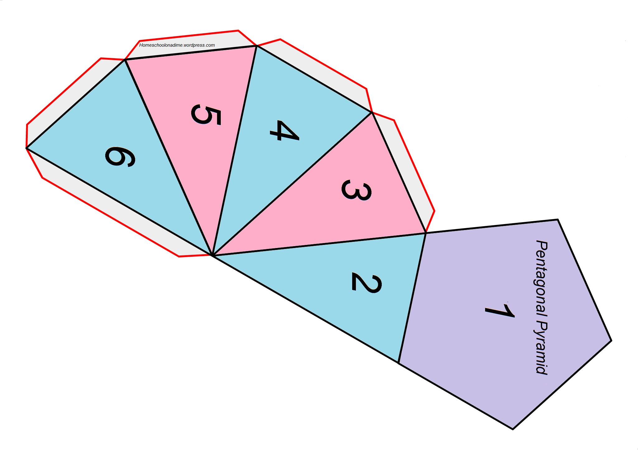 Complex Shape Printable Pentagonal Pyramid Home School