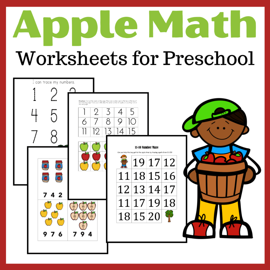 Printable Apple Math Worksheets For Preschoolers
