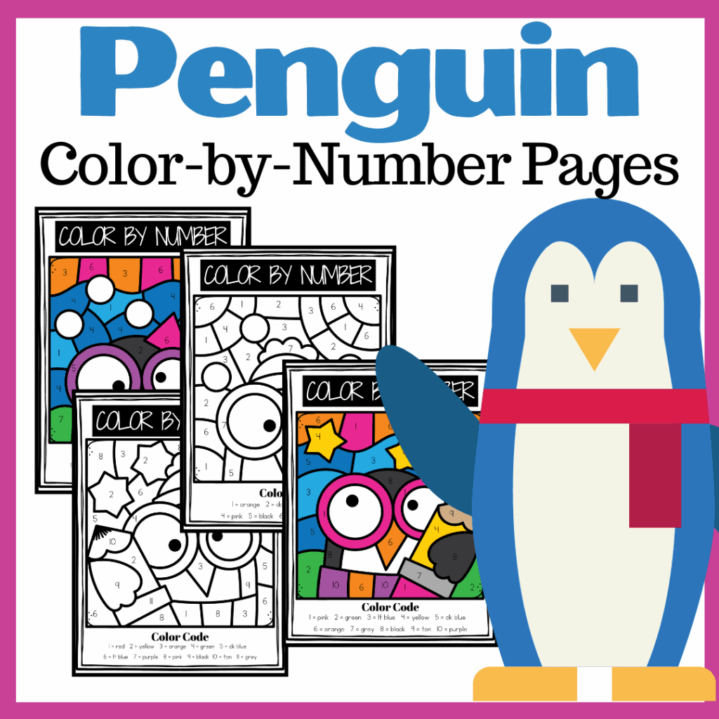 Penguin Color By Number Printables For Preschool