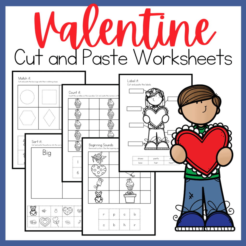 Valentine S Day Cut And Paste Worksheets For Preschool