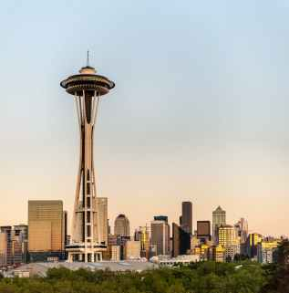 cityscape photo of the space needle observation tower in seattle washington