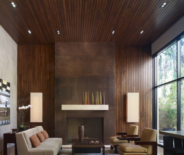 Wonderful Modern Living Room Style With Gorgeous Wooden Wall And Ceiling Supplies Also Interesting Leather Sofa