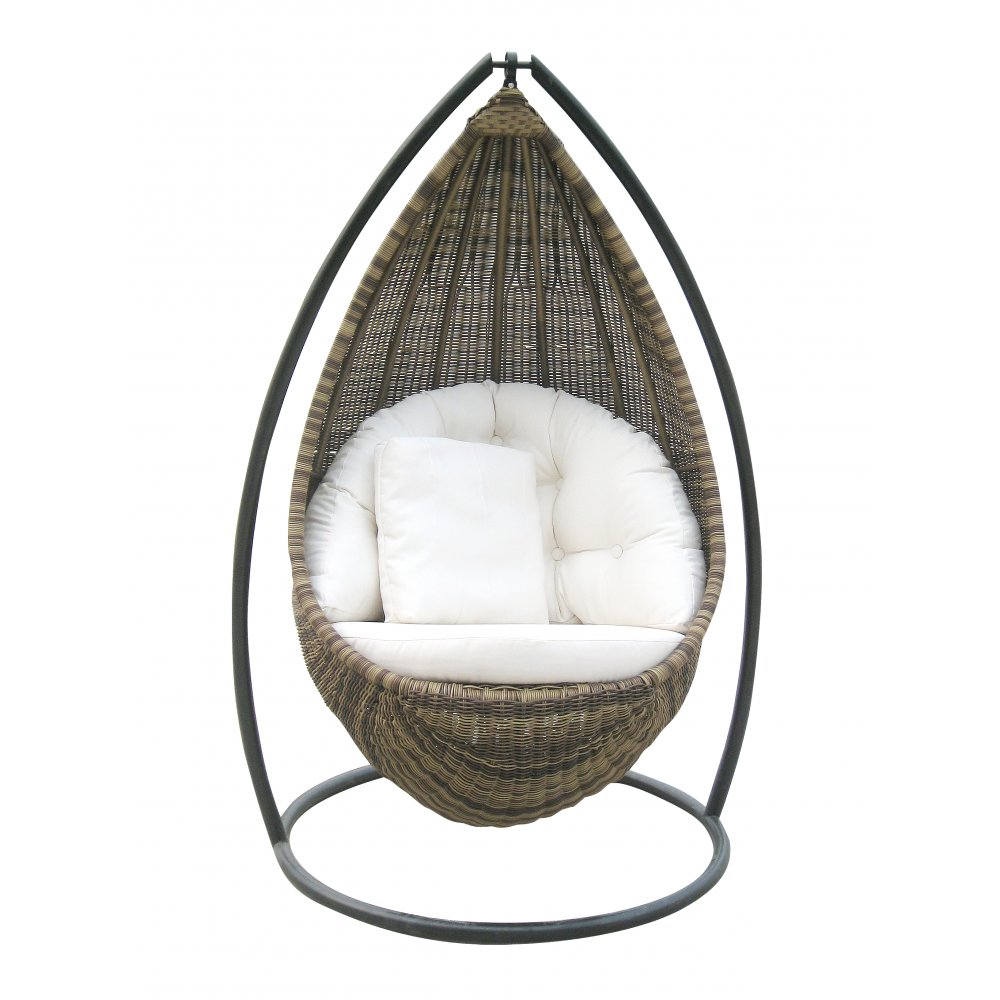 Chairs that Hang from Ceiling  A Way to Have Fun with Something     dew shape rattan hanging chair comfortable white pads and pillow
