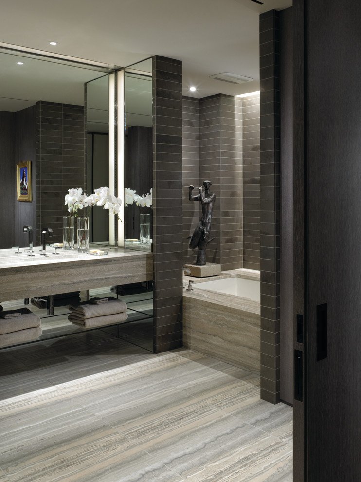 Simple dark colors with fluffy pillows Choosing the Right Bathroom Color Scheme To Show Your
