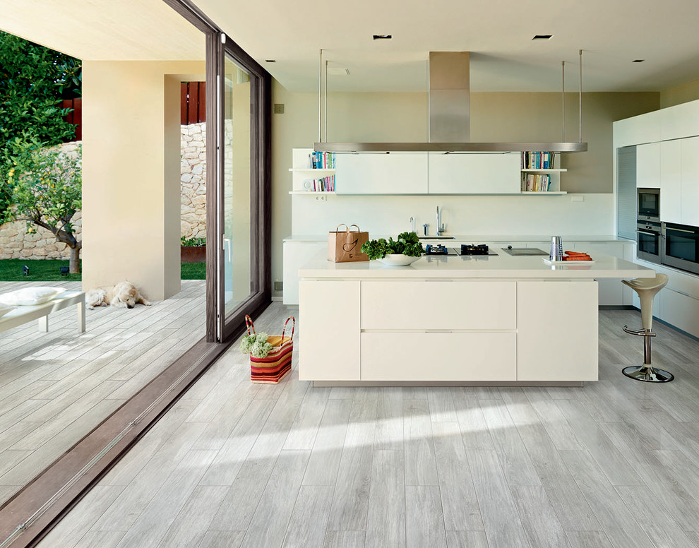 White Washed Wood Floor Meets Home With Industrial Style