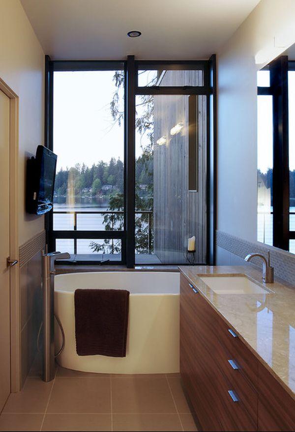 Efficient Bathroom Space Saving with Narrow Bathtubs for ... on Small Space Small Bathroom Ideas With Tub id=47167