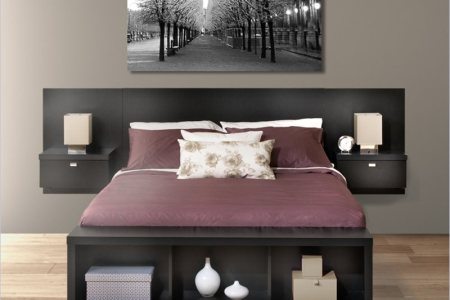 How to Transform Your Bedroom with Unique and Compact Look of     elegant brown wooden storage bed nyc design with headboard idea and purple  bed sheet and white